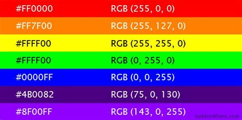 List of Hex color codes and RGB values of the colors in
