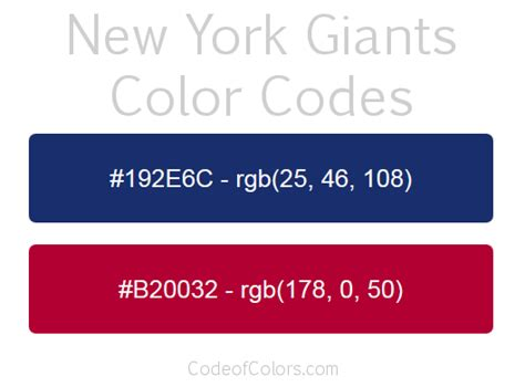 New York Giants Colors - Hex and RGB Color Codes