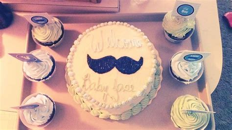 mustache baby shower cake and cup cakes from publix | baby