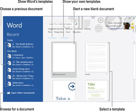 How to Navigate the Start Screen in Word 2016 - dummies
