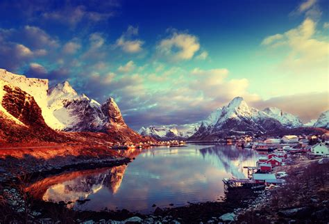 clouds, Sky, Sun, Norway, Bay, Winter, Mountains, Snow