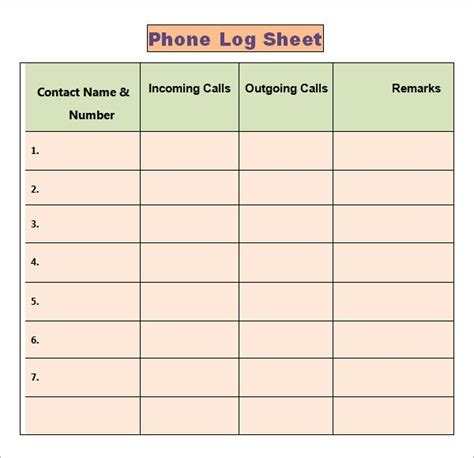 Phone Log Template - 8+ Free Word, PDF Documents Download