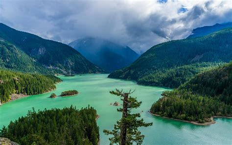landscape, Nature, Green, Lake, Mountain, Forest, Clouds