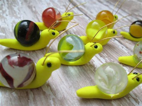 Set of 3 Marble Miniature Fairy Garden Snails in by