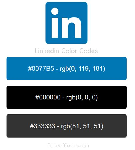 Linkedin Colors - Hex and RGB Color Codes